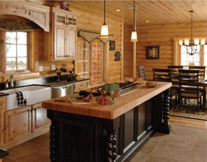 Rose wood furniture rustic kitchen for Log cabin kitchen countertops