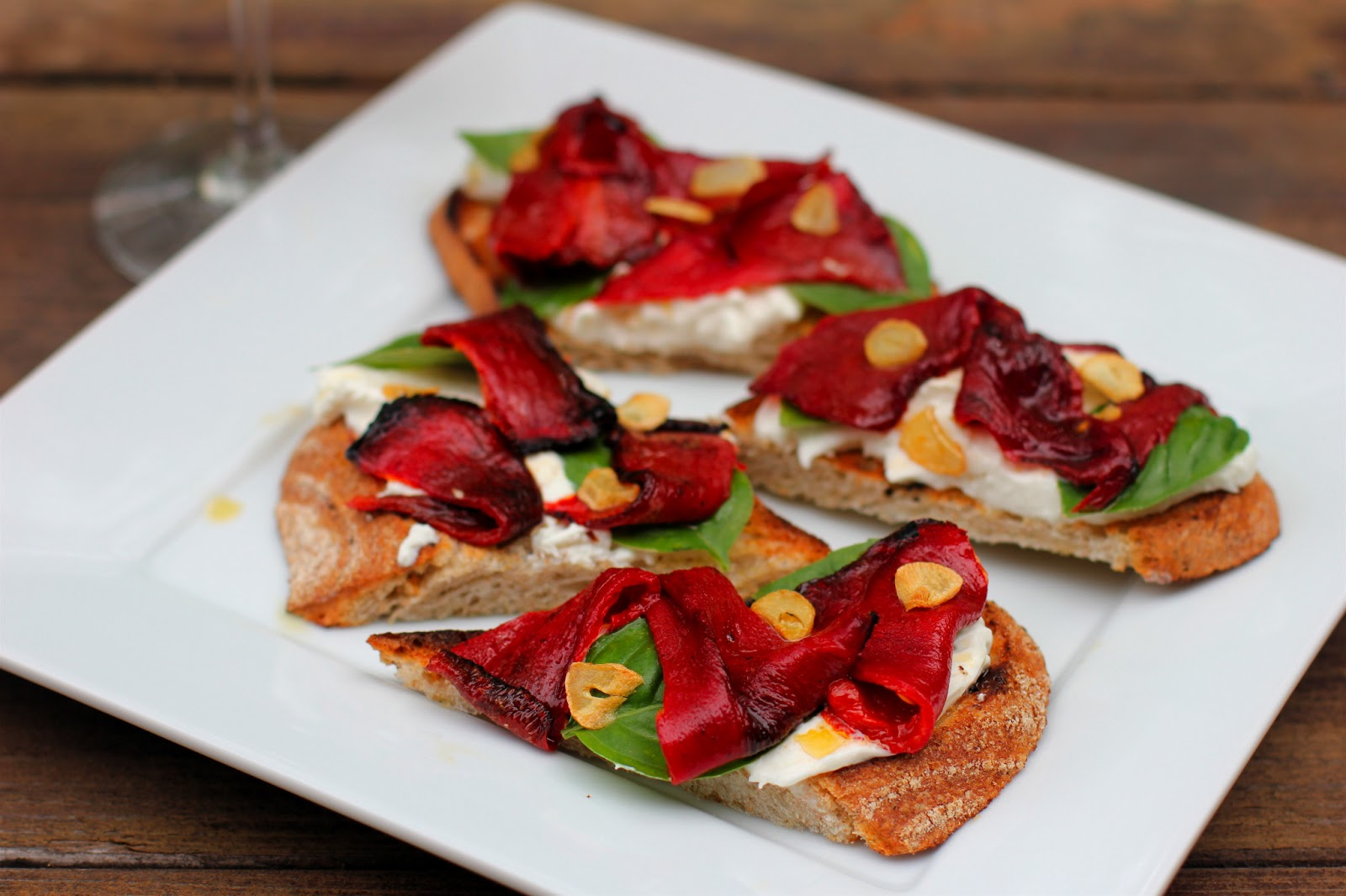 ... Food Advocate: Grilled Bread with Fried Piquillo Peppers and Burrata