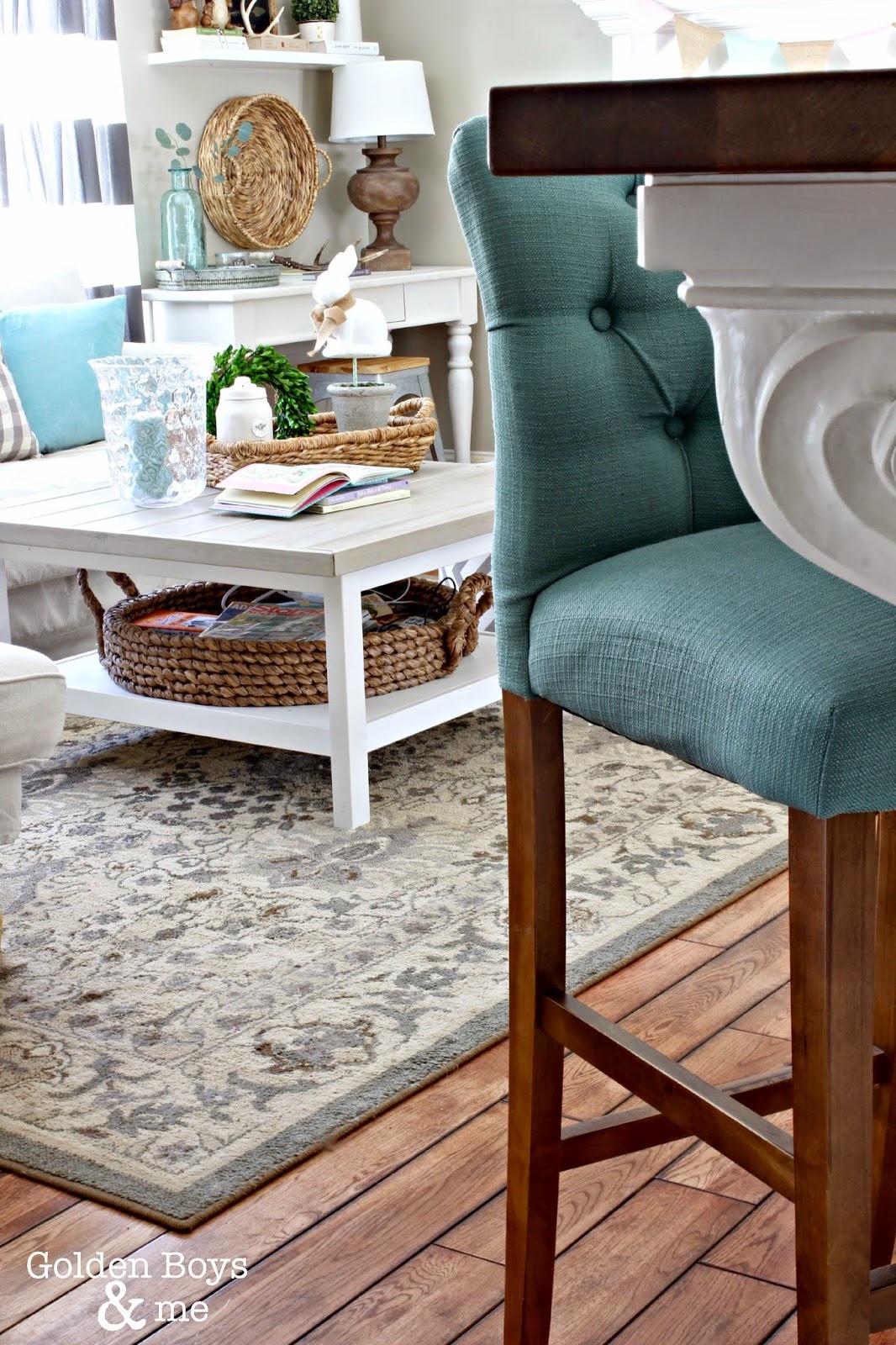 Target Threshold tufted upholstered stool.  Part of Spring decor in living room.  www.goldenboysandme.com