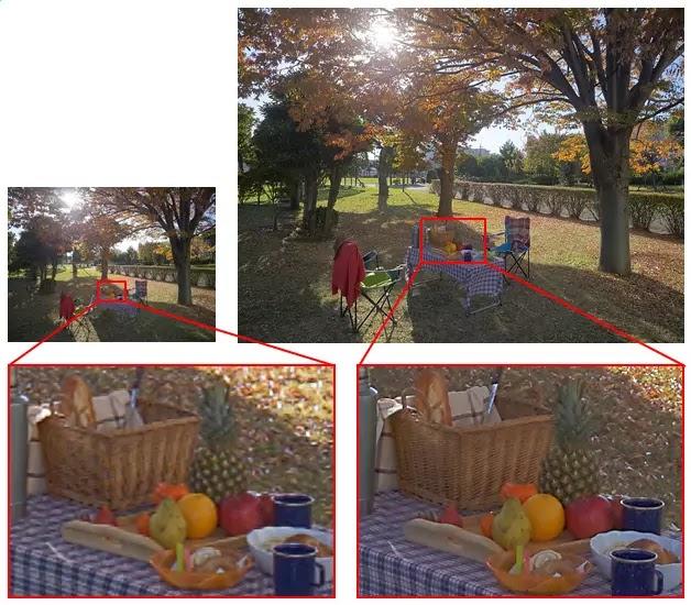 perbandingan: kiri, IMX135 3.2 megapixels. kanan, IMX230 21 megapixels
