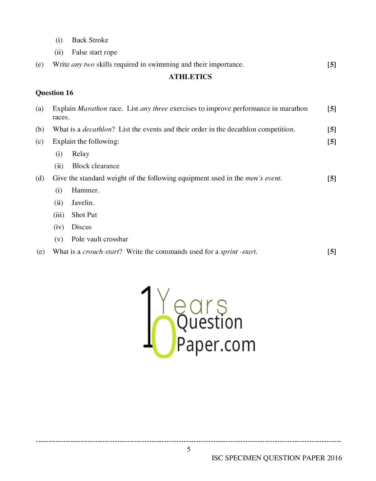 isc 2016 class 12th Physical Education Specimen question paper