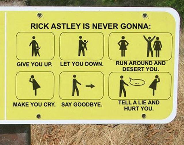 funny sign rick astley