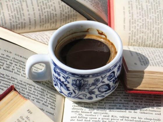 coffee, books, morning