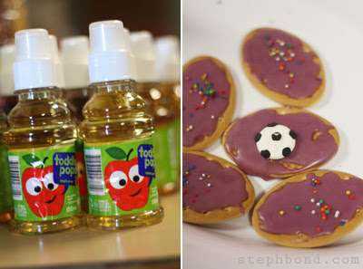 Soccer cookies and drinks