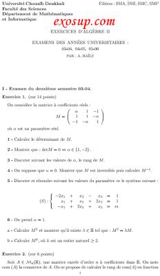 des examens corrigés d'algèbre 2 smpc-smia fsj