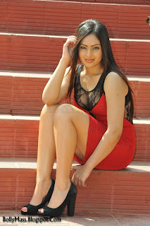 WWW..BLOGSPOT Actress Nikesha Patel Latest Picture Shoot in Red Dress Exposing her Smooth Legs Picture Posters Stills Image Gallery 0012