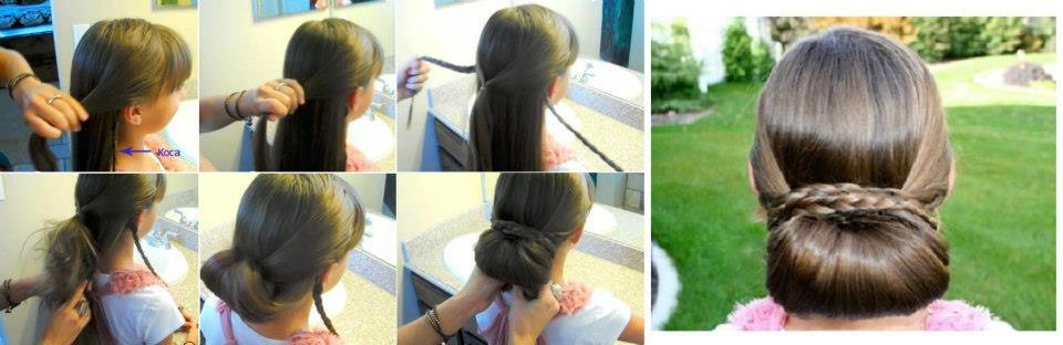 Прическа шишка на длинные волосы с валиком