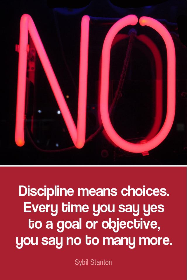 visual quote - image quotation for SELF-DISCIPLINE and WILLPOWER - Discipline means choices. Every time you say yes to a goal or objective, you say not to many more. - Sybil Stanton