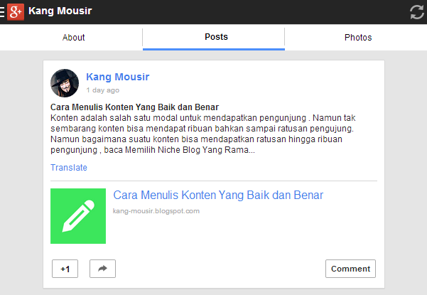 Tampilan Mobile Google Plus