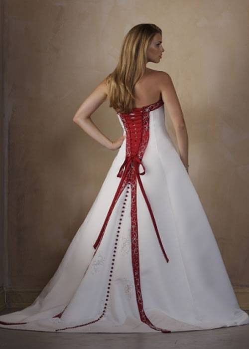 Red And White Wedding Dress Designs Pictures