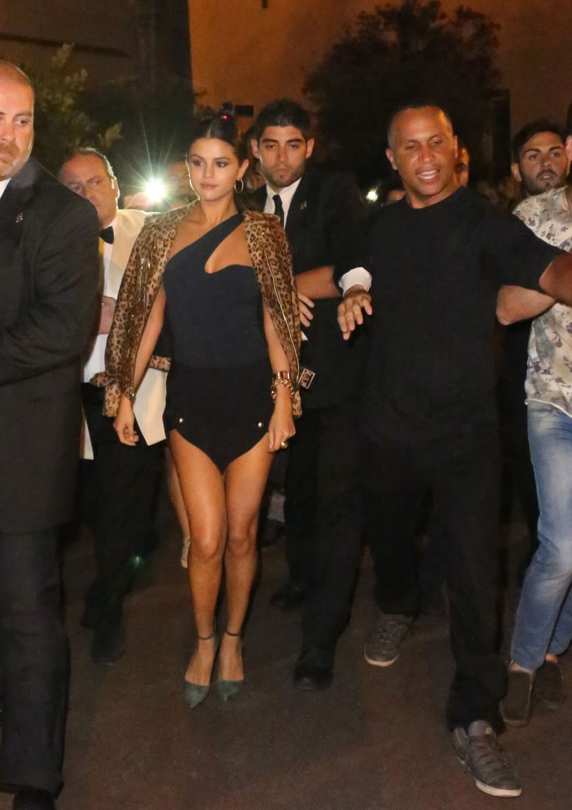 Selena Gomez flaunts long legs in an Anthony Vaccarello skirt in Ischia, Italy