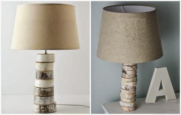 Diy lampara de mesa con troncos for Lamparas de mesa de madera