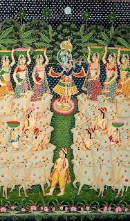 Krishna playing to the cowgirls. Kulu painting, 1775.