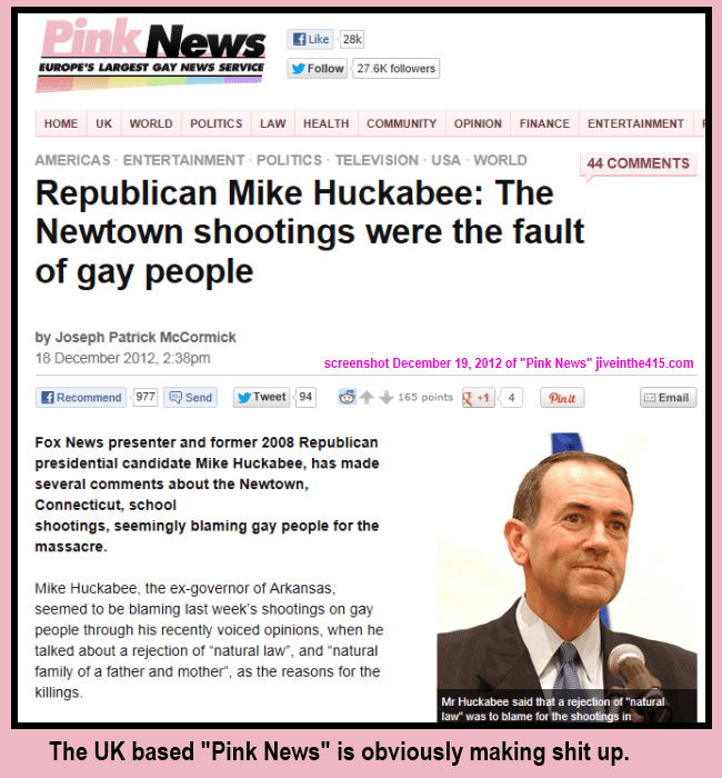 Screenshot of the UK's Pink News story about Mike Huckabee 12-19-2012