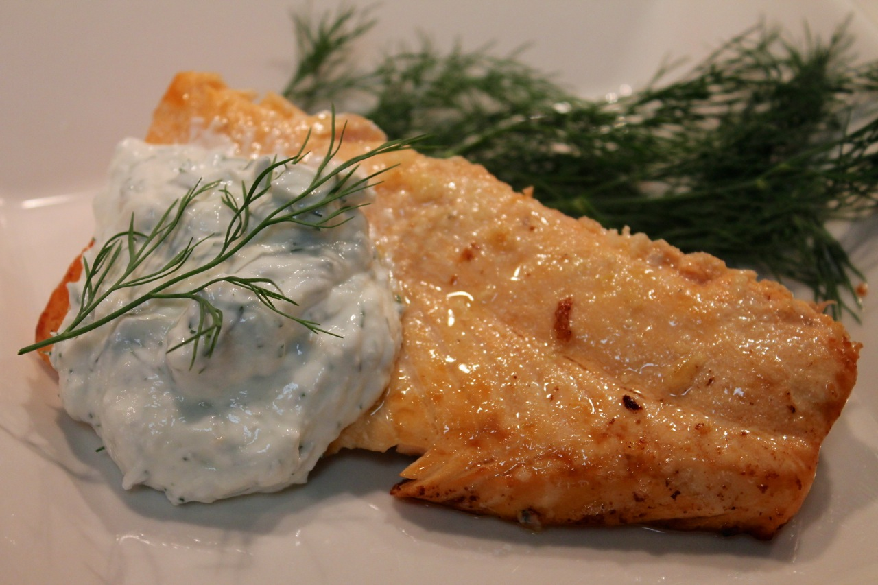 Cook In / Dine Out: Salmon with Yogurt-Dill Sauce