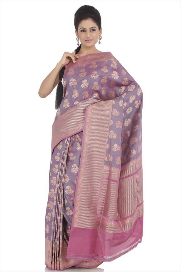 Rose Bud Kattan Silk Banarasi Saree