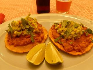 Chipotle Bean Tostadas with Summer Corn Guacamole