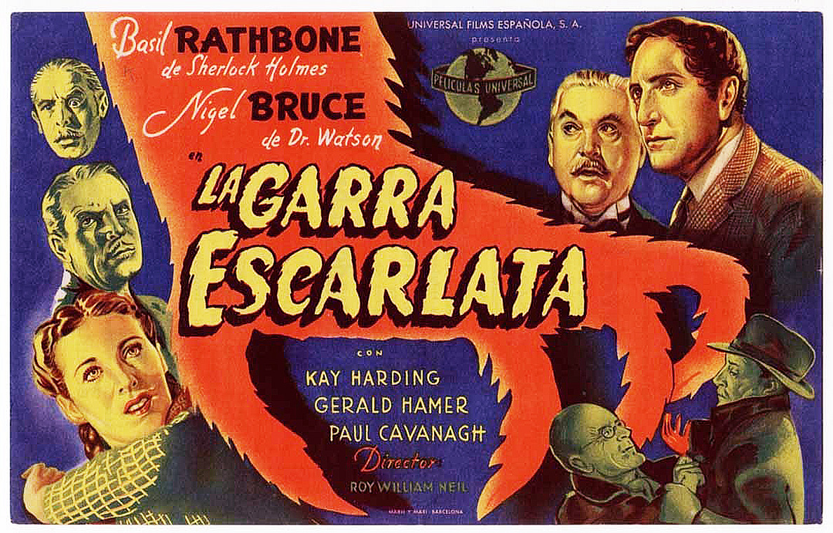 Sherlock Holmes in The Scarlet Claw Spanish Film Poster