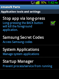 emanoN v6 Application Tools with Status bar battery style.