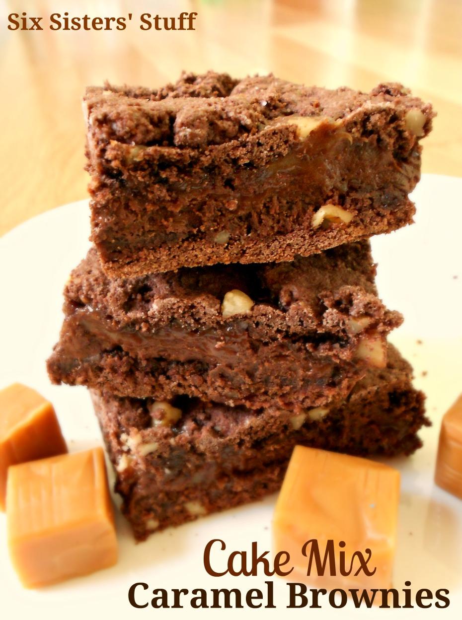Cake Mix Caramel Brownies