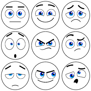 Simple cartoon drawing of different facial expressions.