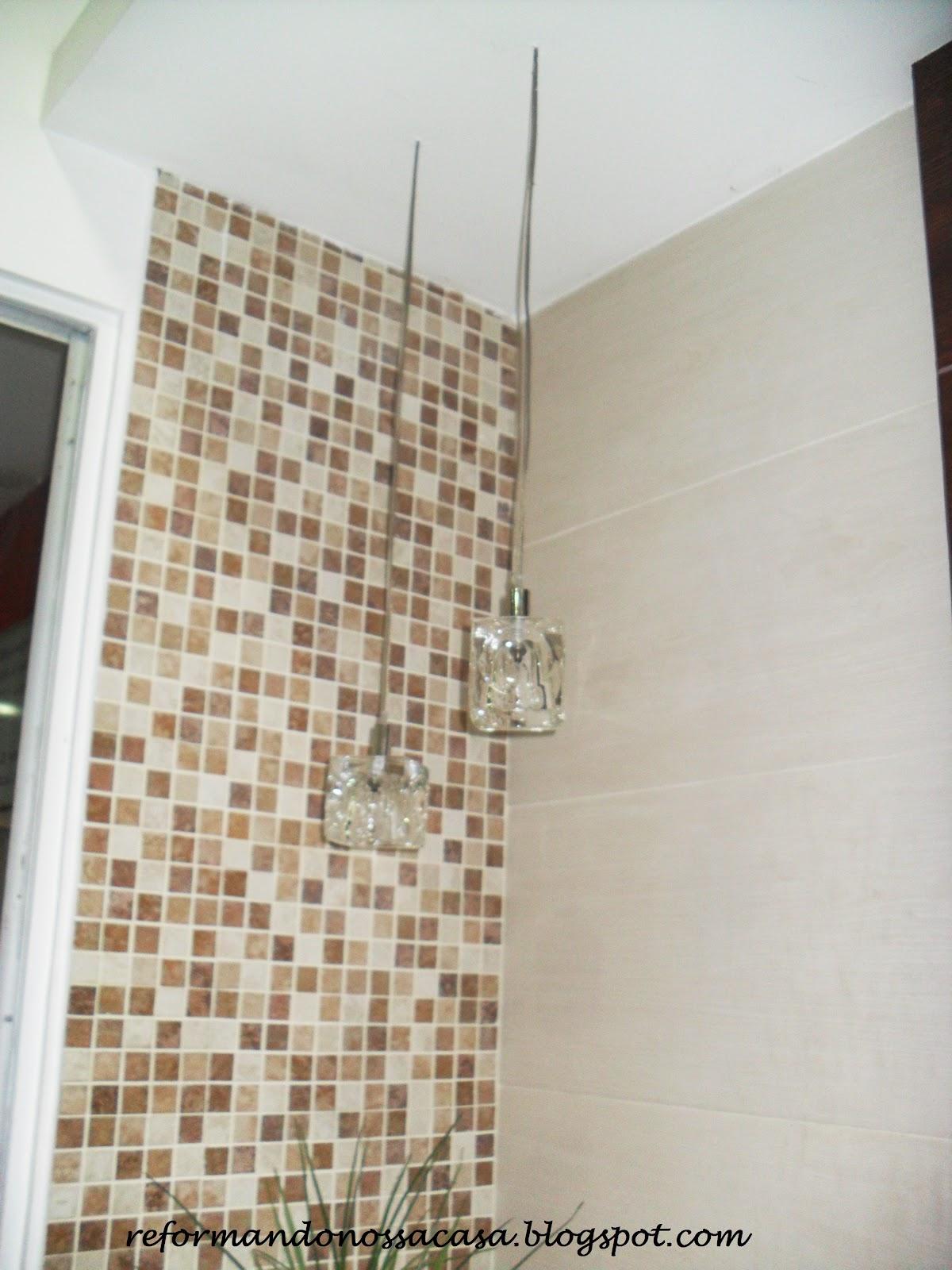 Reformando nossa casa Julho 2012 -> Banheiro Decorado Com Pastilhas Marrom