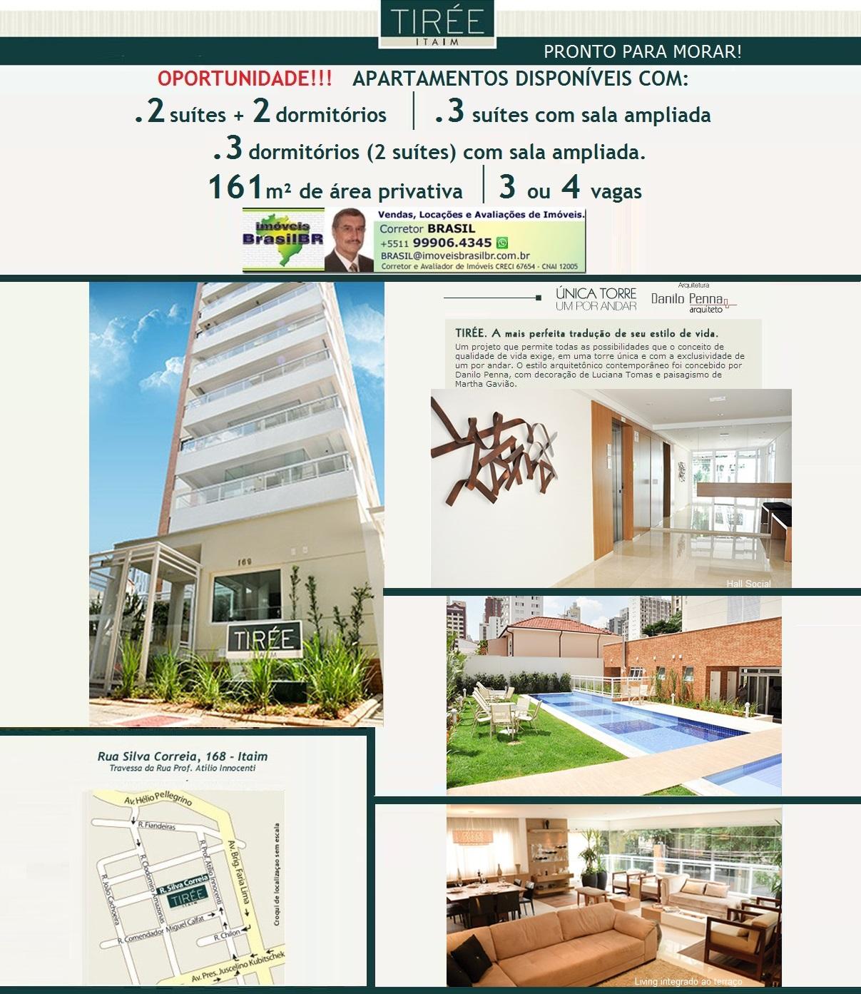 TIRÉE Itaim * Aptos de alto padrão, 1 por andar, 161m² na Rua Silva Correa, Itaim-São Paulo-SP