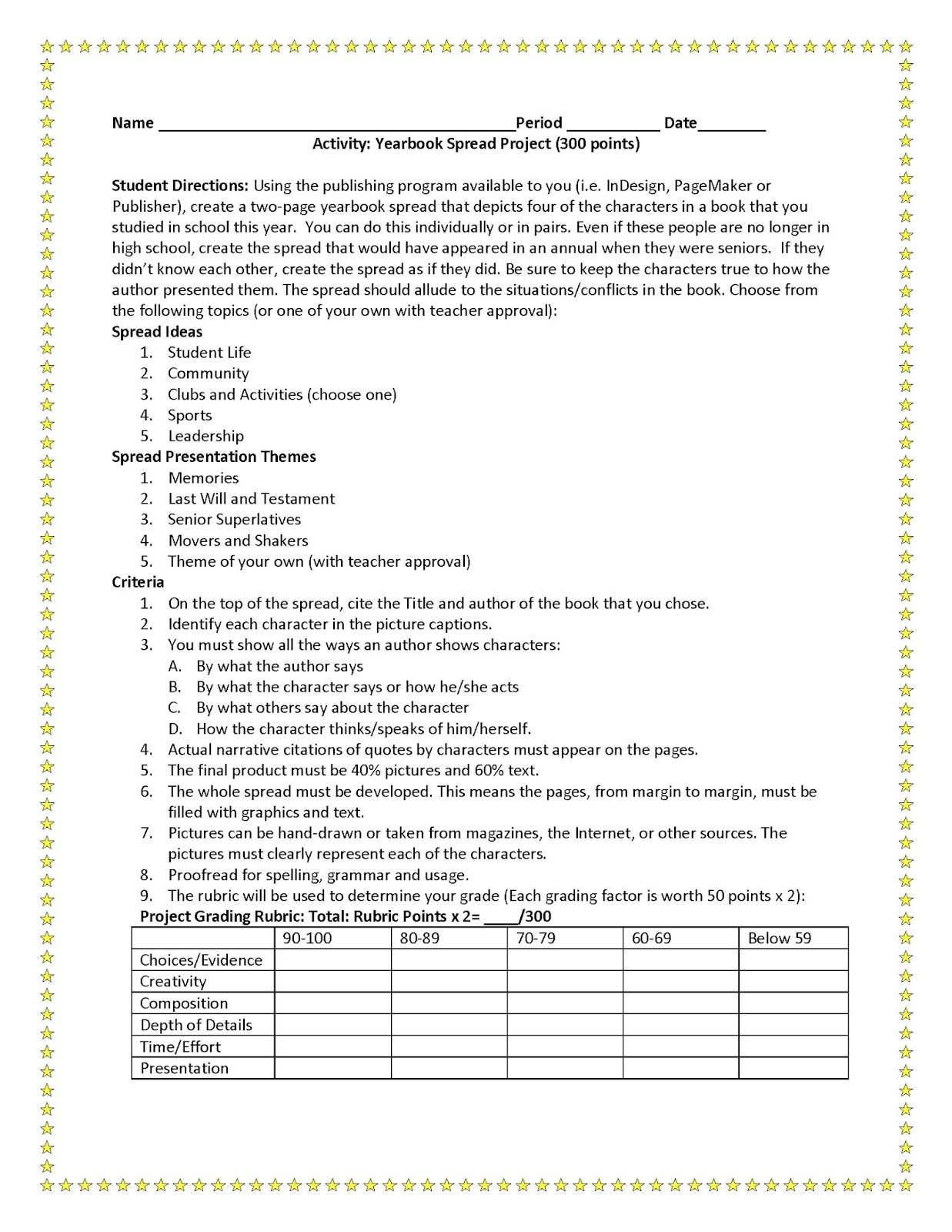 journalism yearbook worksheet for students - Google Search ...