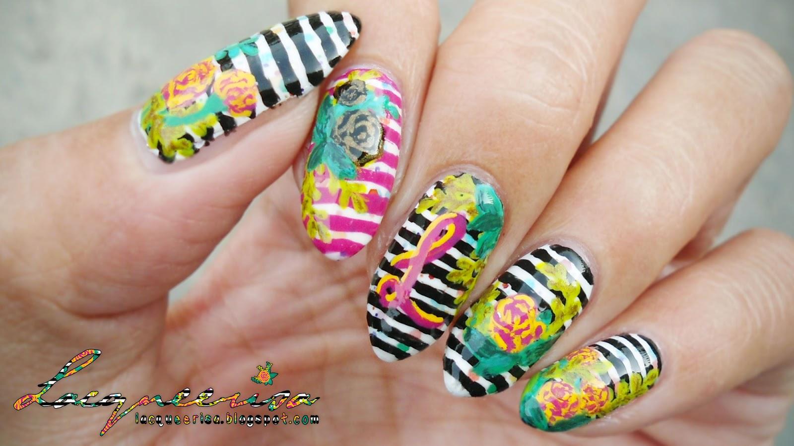 Striped Floral Monogram Nails lacqueerisa.blogspot.com