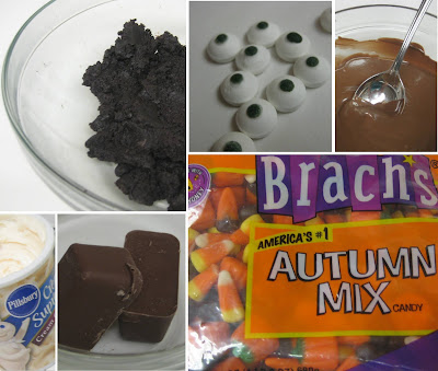 Halloween Little Monster Cake Balls - Ingredients Collage
