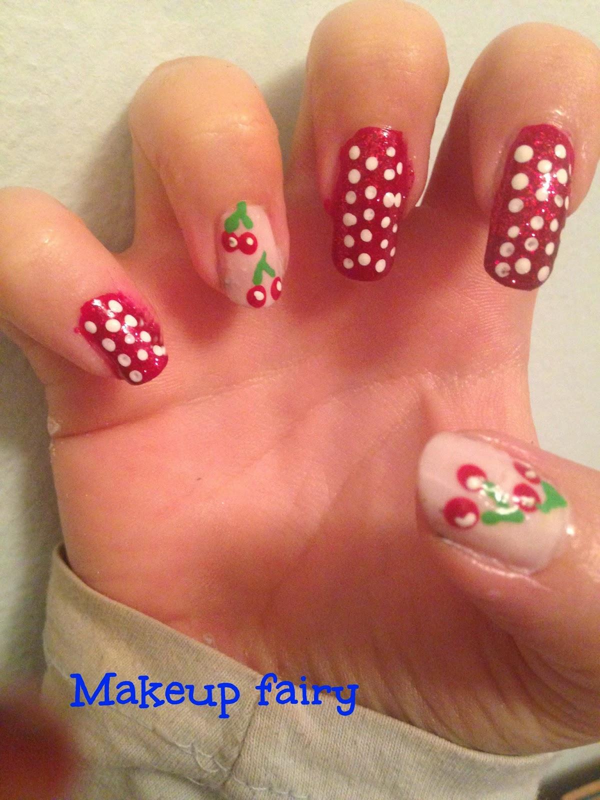 Tinklesmakeup: Cherries nail art/ ciliegie nail art