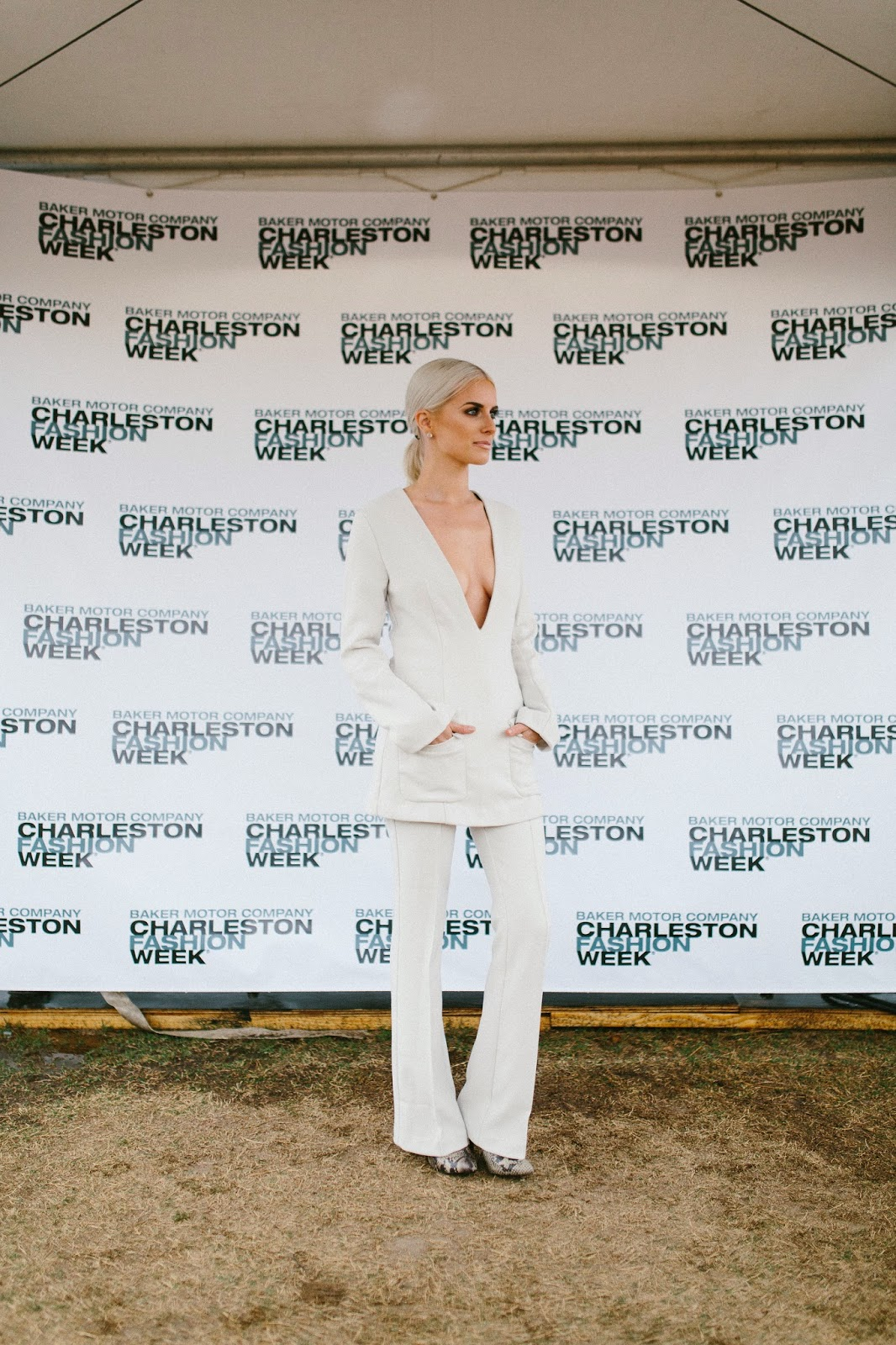 Charleston Fashion Week 2015 street style Charleston Fashion Blogger lifestyle beauty dannon k collard like the yogurt blog plunge neck deep v suit h&m groovy grave v-neck tunic flared pants size 2 cream white 70s style street fashion high end new york charleston fashion week 2015 trends