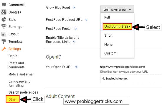 Display Jump Break inside Feedburner feed