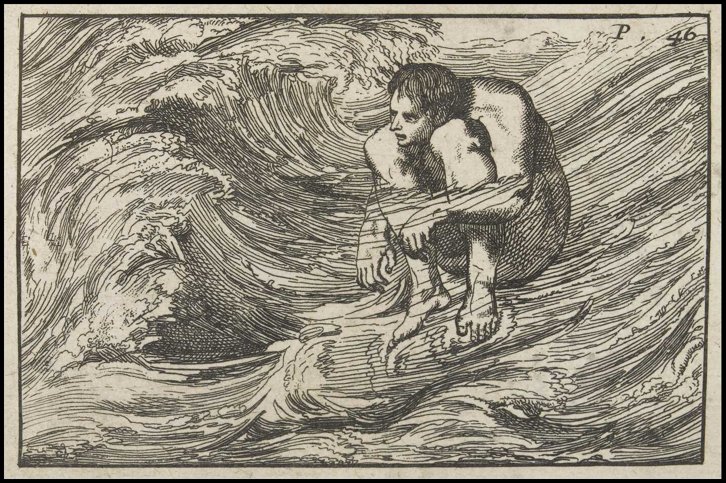 unsophisticated illustration 1699 : man sitting down in river