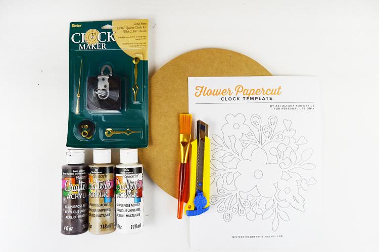 مواد العمل: صباغة، قطعة خشبية، ورنيش، محرك الساعة، ورق الزجاج، زخرفة ورقية