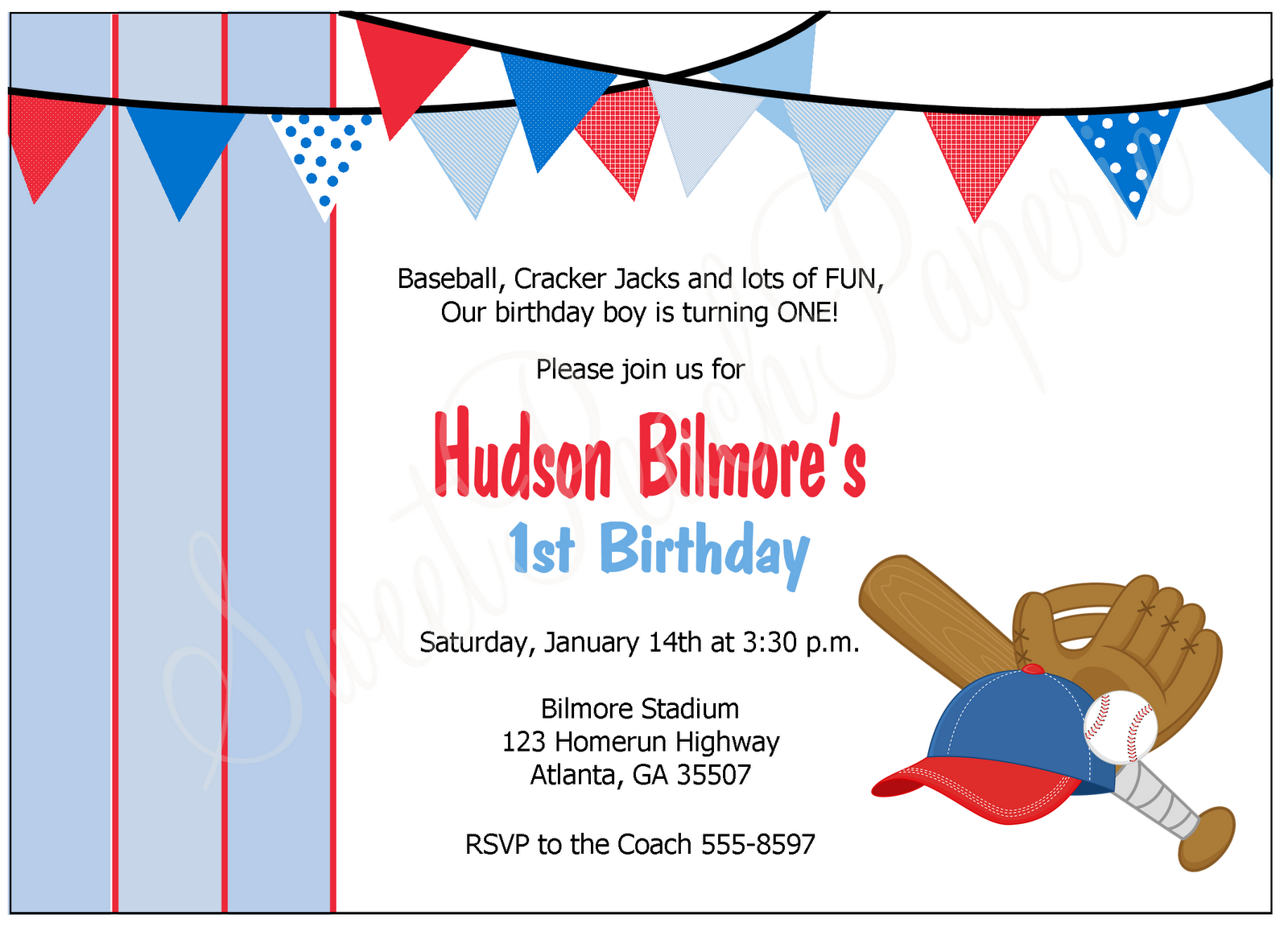 Baseball Party Invitation - Sweet Peach Paperie