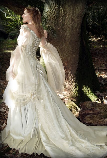 Gothic Fairy Tale Wedding Dresses The full skirt uses gathers