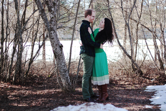 couple wearing green clothing