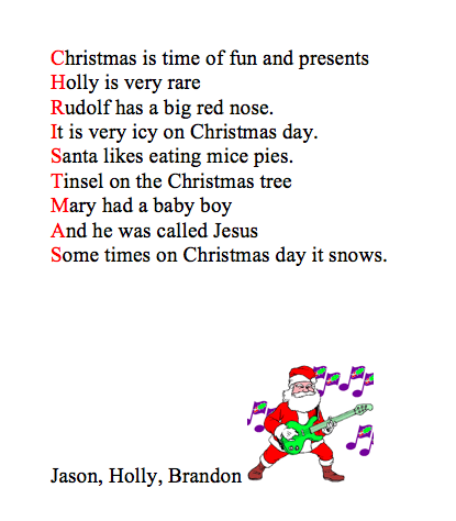 Christmas Acrostic Poem Printables