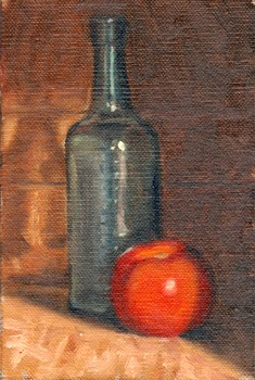 Oil painting of an antique Holbrook's Worcestershire sauce bottle and a tomato.