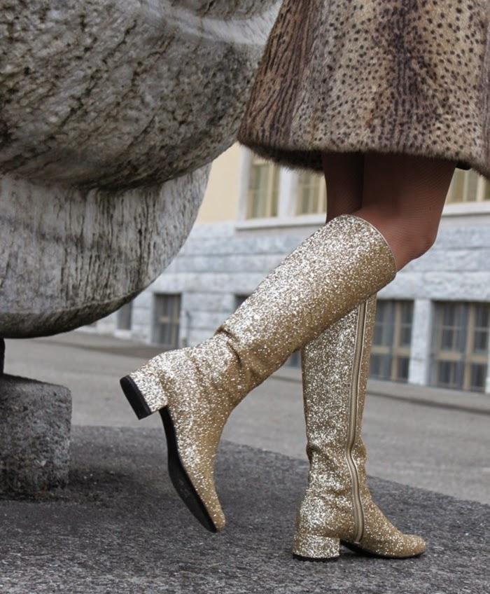 stivali glitter oro