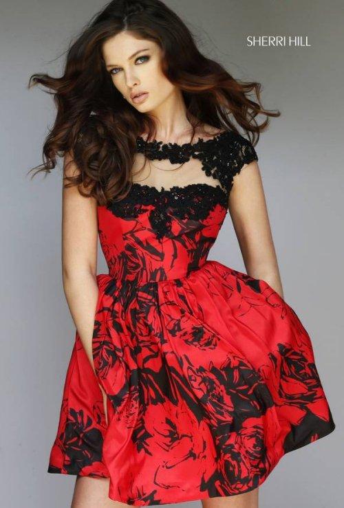 Red black short prom dresses