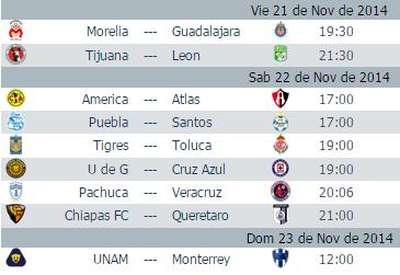 Calendario Jornada 17 Apertura 2014 Futbol Mexicano
