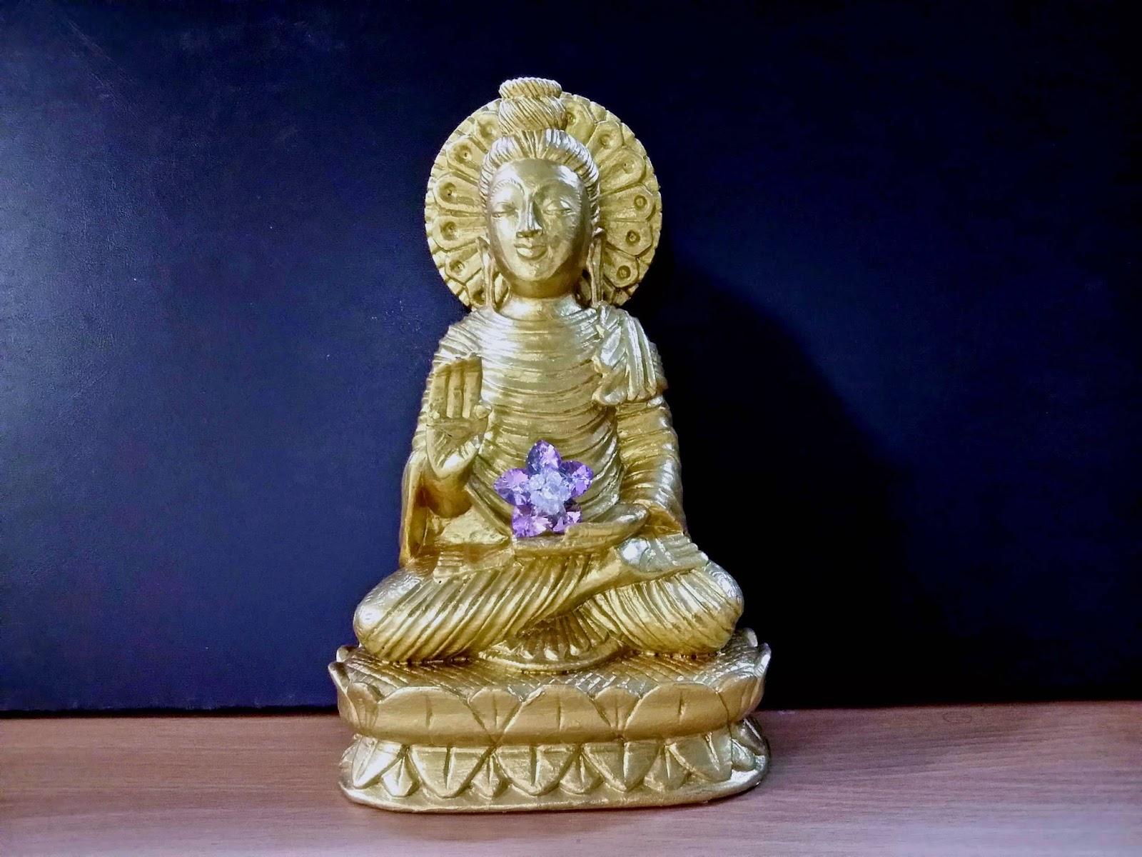 Sacred Crystal Lotus Golden Buddha With Sacred Crystal Lotus Flower