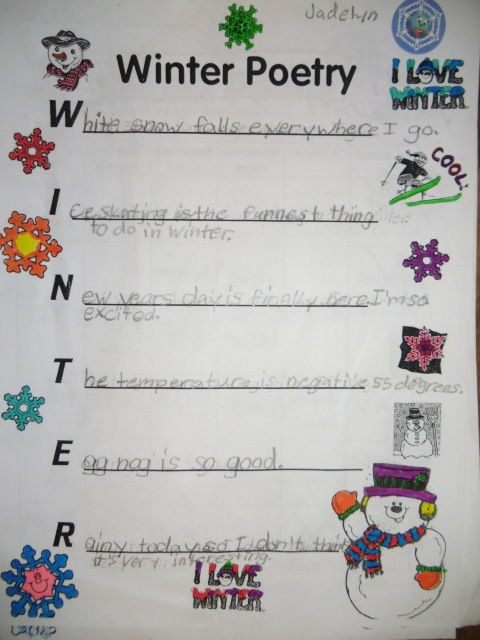 Patties Classroom Winter Acrostic Poems And Snowflake Snowman Art