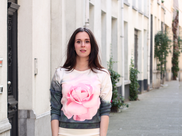 Rose Sweatshirt, Peplum Skirt