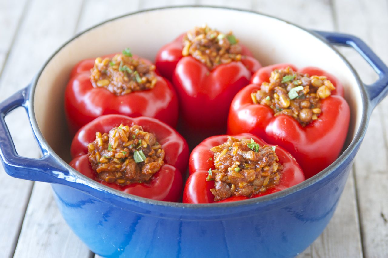 Greek-Style Vegan Stuffed Peppers - Craving Greens