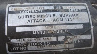 Un misil tipo Hellfire aire-tierra, de fabricación estadounidense, utilizado por el régimen israelí en su ataque contra la asediada Franja de Gaza. 4 de enero de 2009
