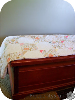 ProsperityStuff Vintage Sheet Quilt on Cedar Chest