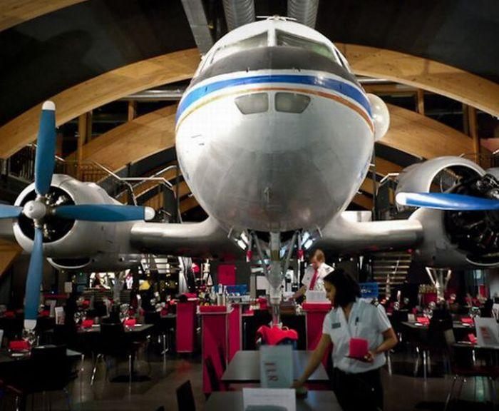 A Vintage Airplane Turned Restaurant At In Zurich Airport